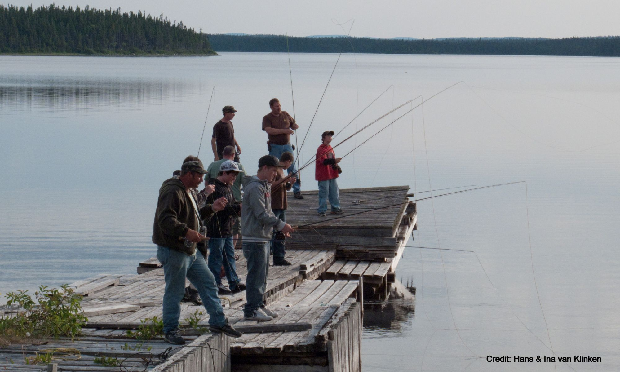 Fishing for Mackerel and Cod from the wharf in Main Brook, NL