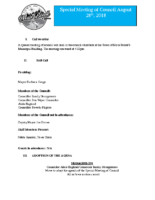 Special Meeting of Council Aug 28, 2018 FINAL DRAFT