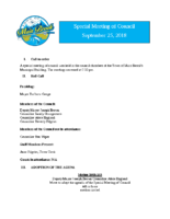 Special Meeting of Council September 25, 2018