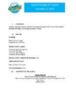 Special Meeting of Council September 6, 2018