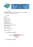 Regular Meeting of Council October 9^J 2019