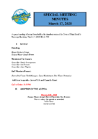Regular Meeting of Council March 17 2020